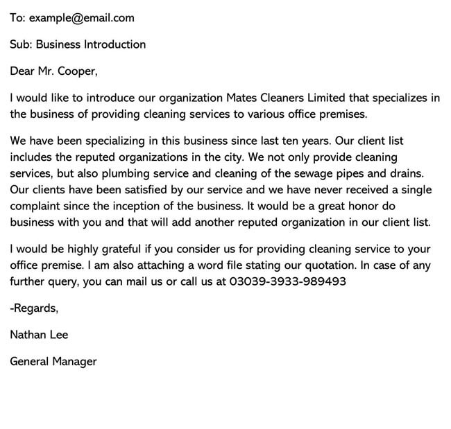 Business Introduction Letter Template 15