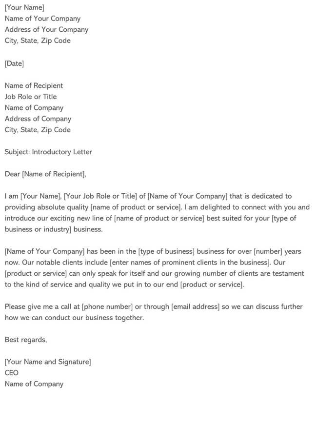 Business Introduction Letter Template 16