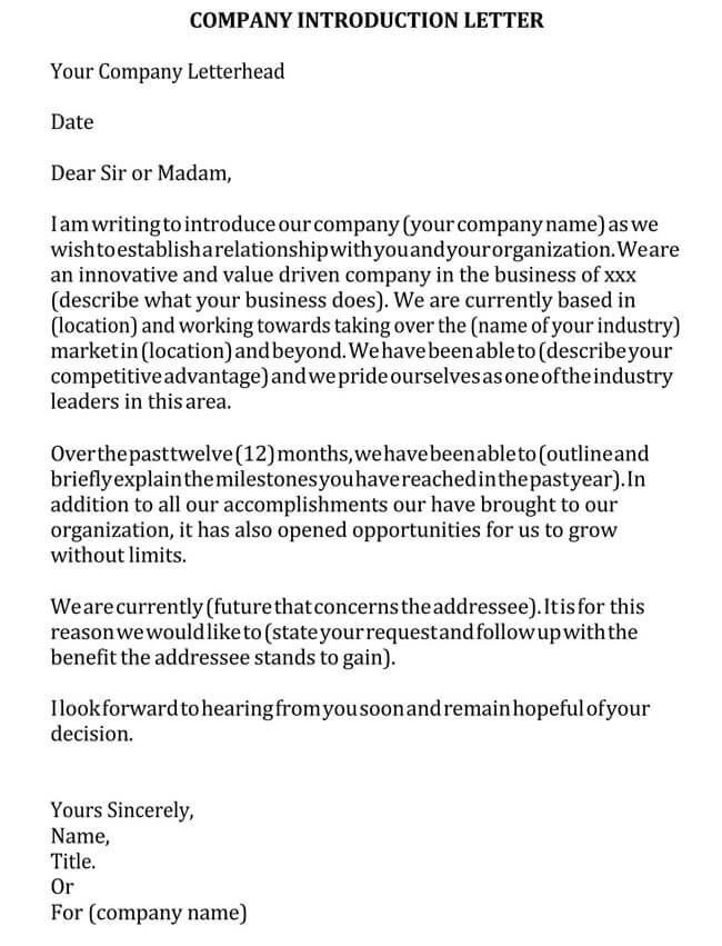 Business Introduction Letter Template 19
