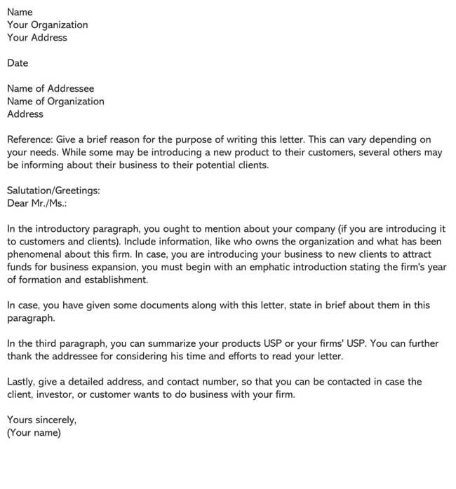 Business Introduction Letter Template 20