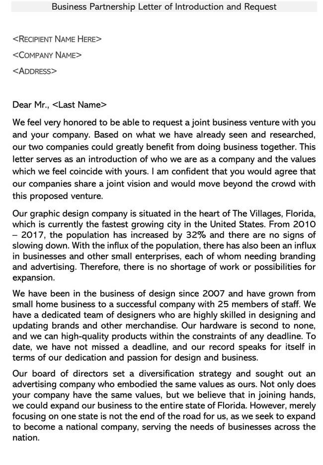 Business Partnership Introduction Letter