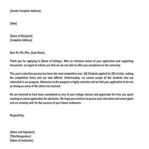college rejection letter simulator