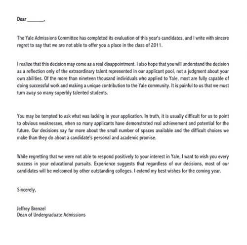 private school rejection letter sample