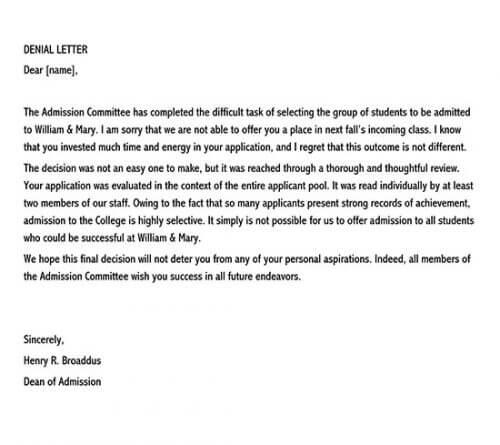 admission rejection letter sample 01