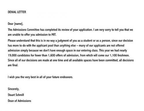 what does a college rejection letter look like 01
