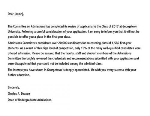 admission rejection letter sample 02
