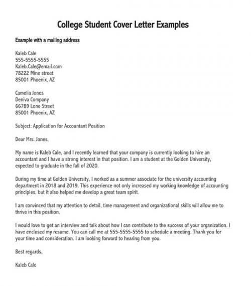 cover letter examples student cover letter for internship