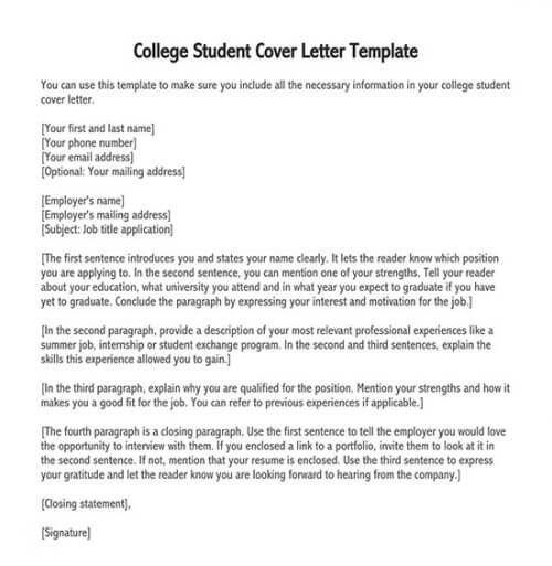 application letter for working student in college pdf