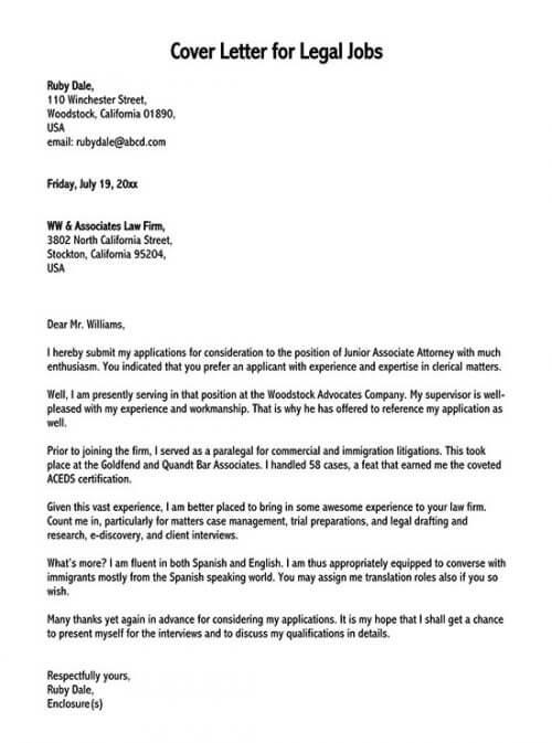 sample cover letter for legal job application