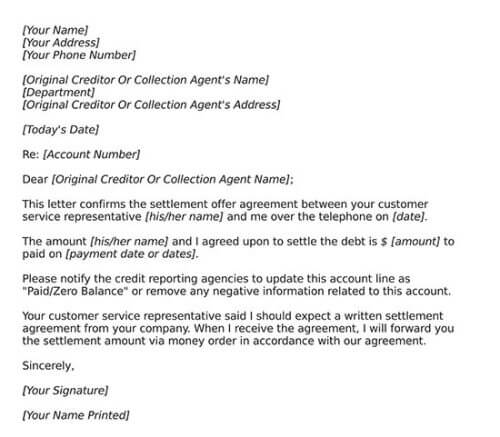 debt settlement agreement doc