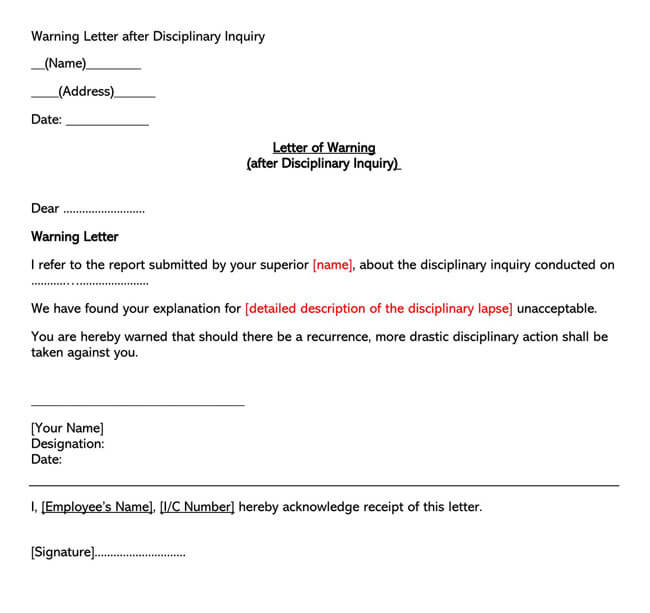 Disciplinary Inquiry Warning Letter Template