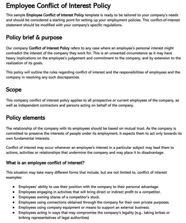 Employee Conflict of Interest Policy 03