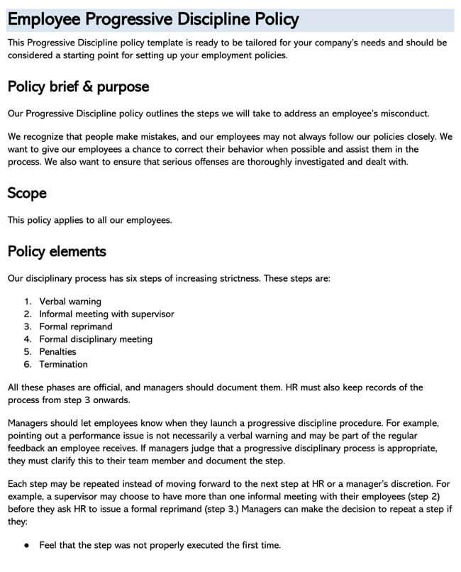 Employee Disciplinary Policy 01