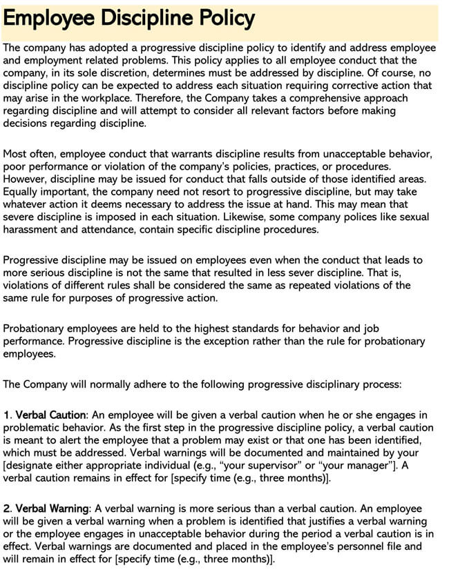 Employee Disciplinary Policy 02