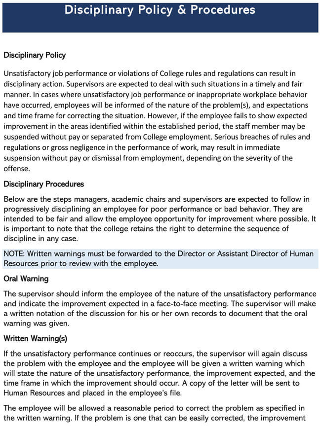 Employee Disciplinary Policy 03