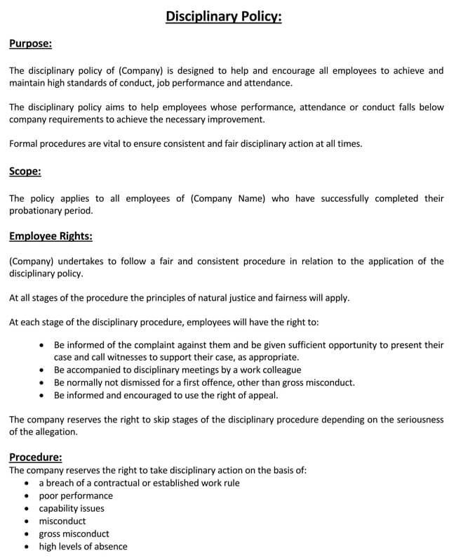 Employee Disciplinary Policy 05