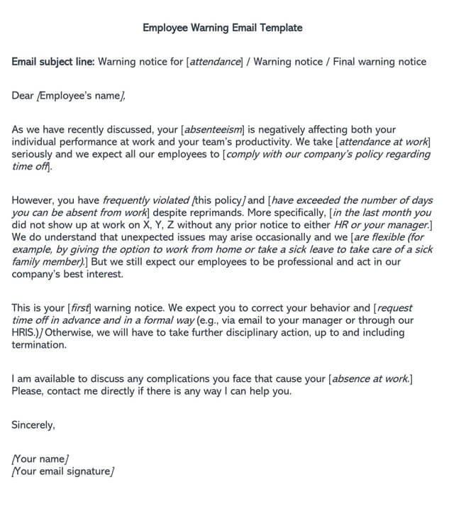 Employee Warning Email Template