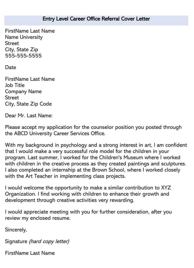 Entry Level Career Office Referral Cover Letter 03