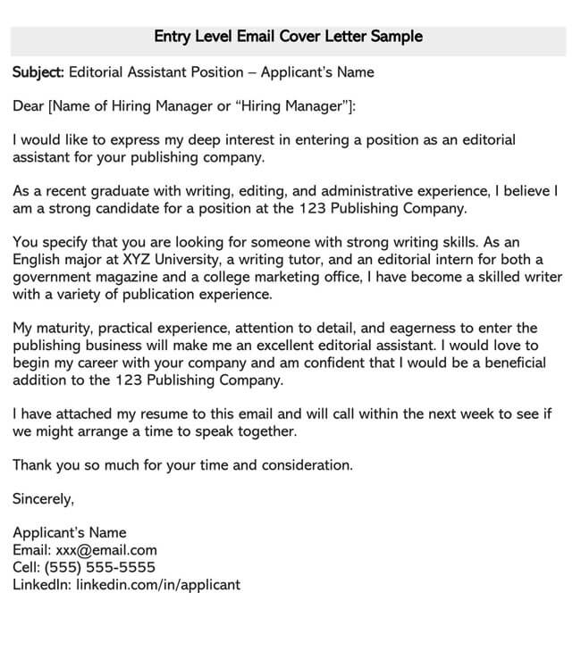 Entry Level Cover Letter Email Sample
