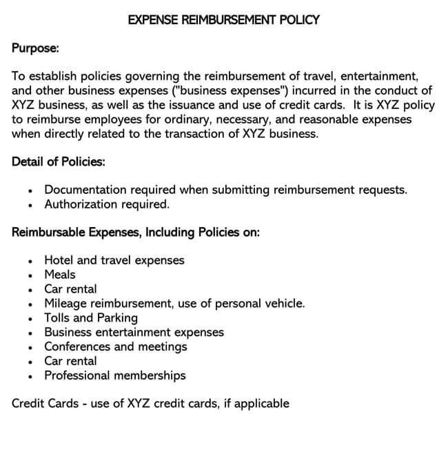 Expense Reimbursement Policy Template 02