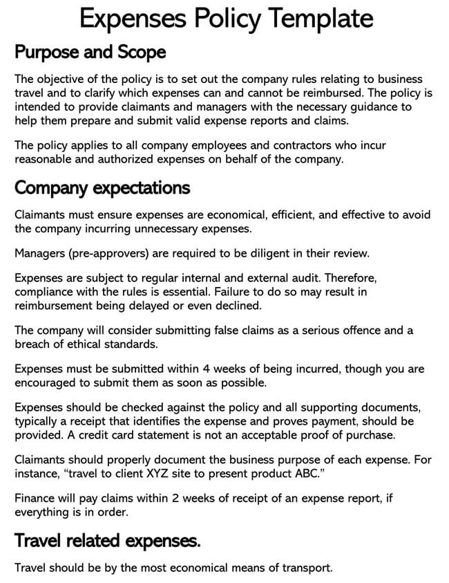 Expense Reimbursement Policy Template 03