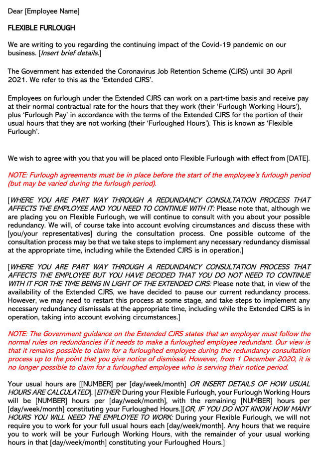 Extended CJRS Flexible Furlough Letter Template
