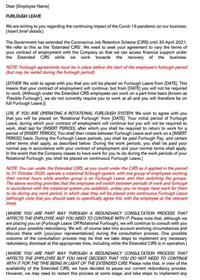 Extended CJRS Full Furlough Letter Template