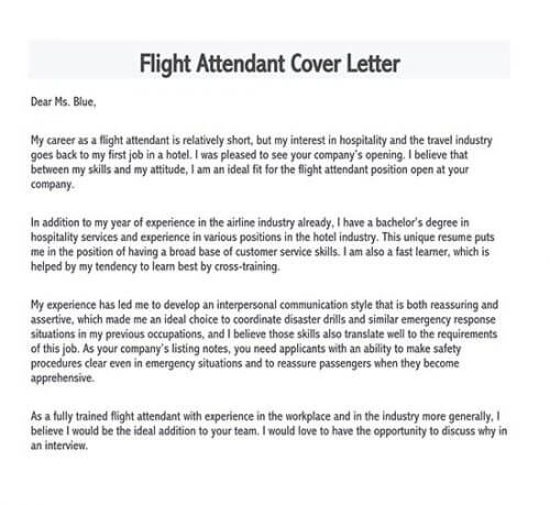 flight attendant application letter no experience