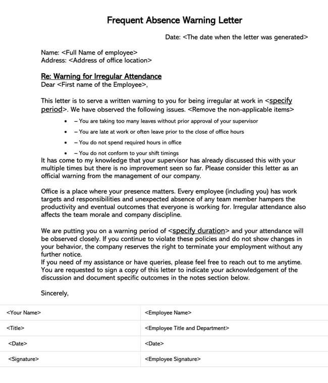 Frequent Absence Warning Letter Template