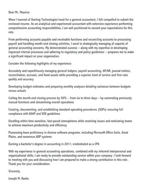 application letter for accountant position for fresh