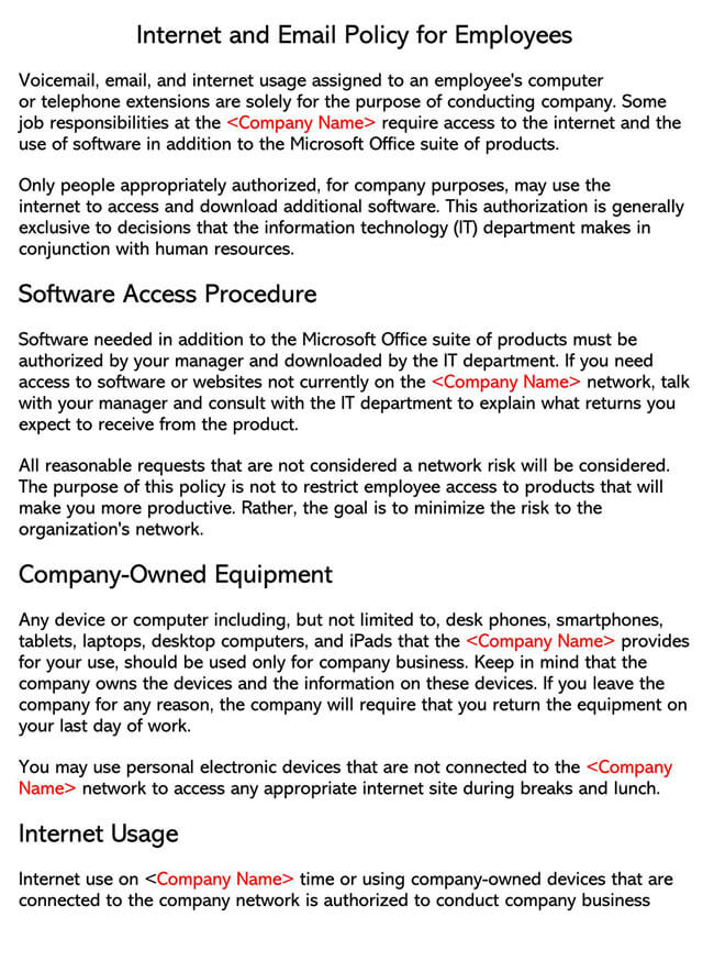 Internet Policy for Employees Template 01