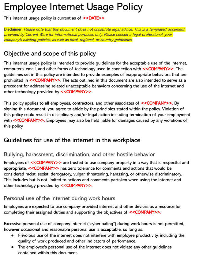 Internet Policy for Employees Template 02