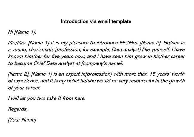 Introduction Via Email Template