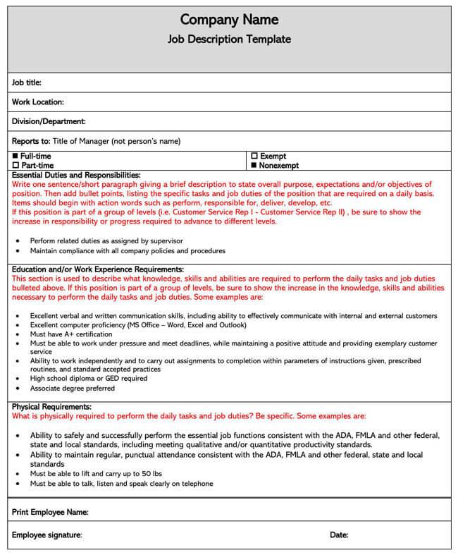 Job Description Template 01