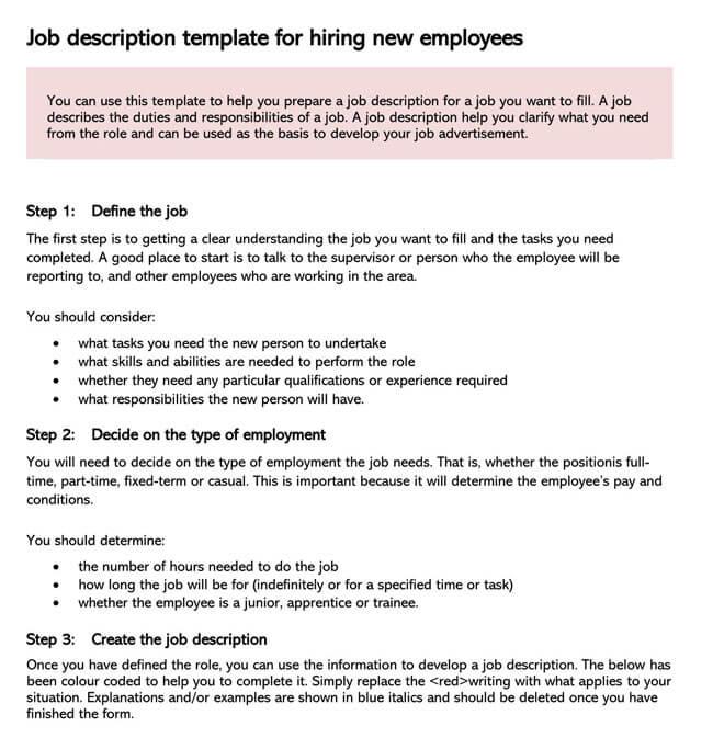 Job Description Template 02