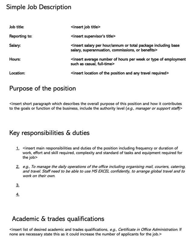 Job Description Template 04