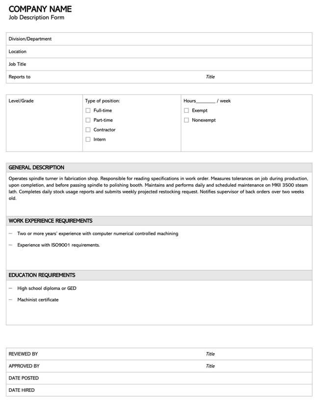 Job Description Template 05