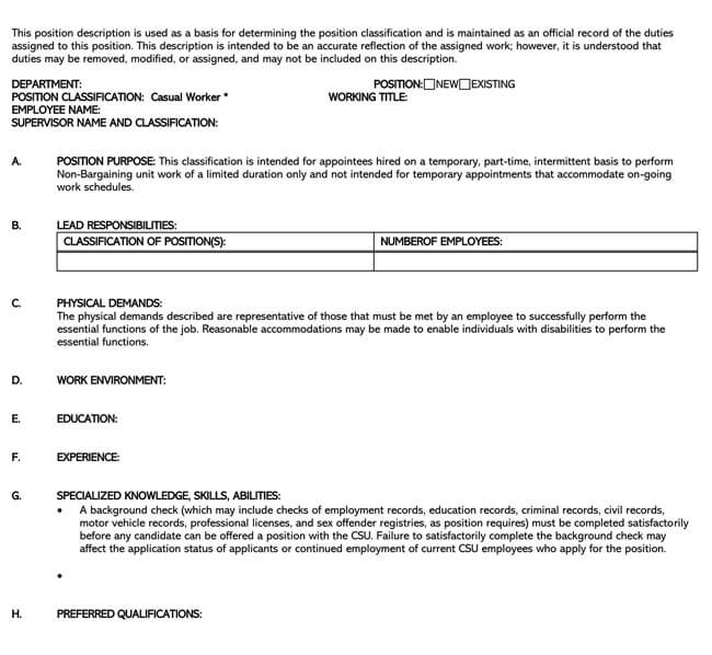 Job Description Template 15