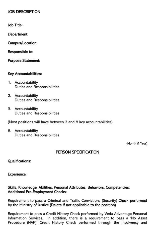 Job Description Template 26