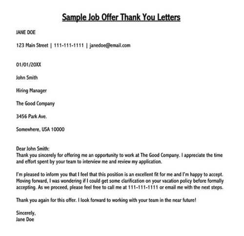 job offer thank you email
