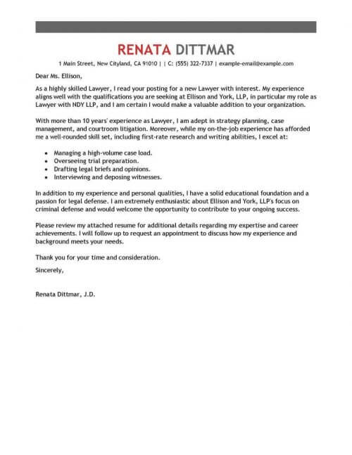 best legal cover letters