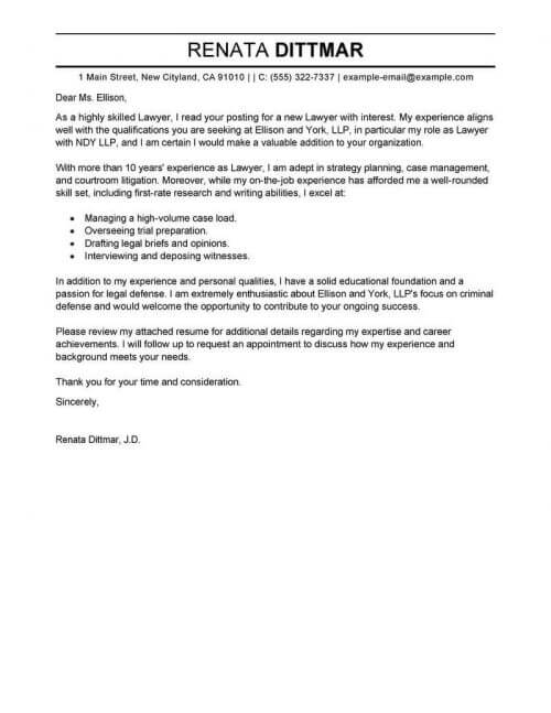 cover letter for law firm job sample