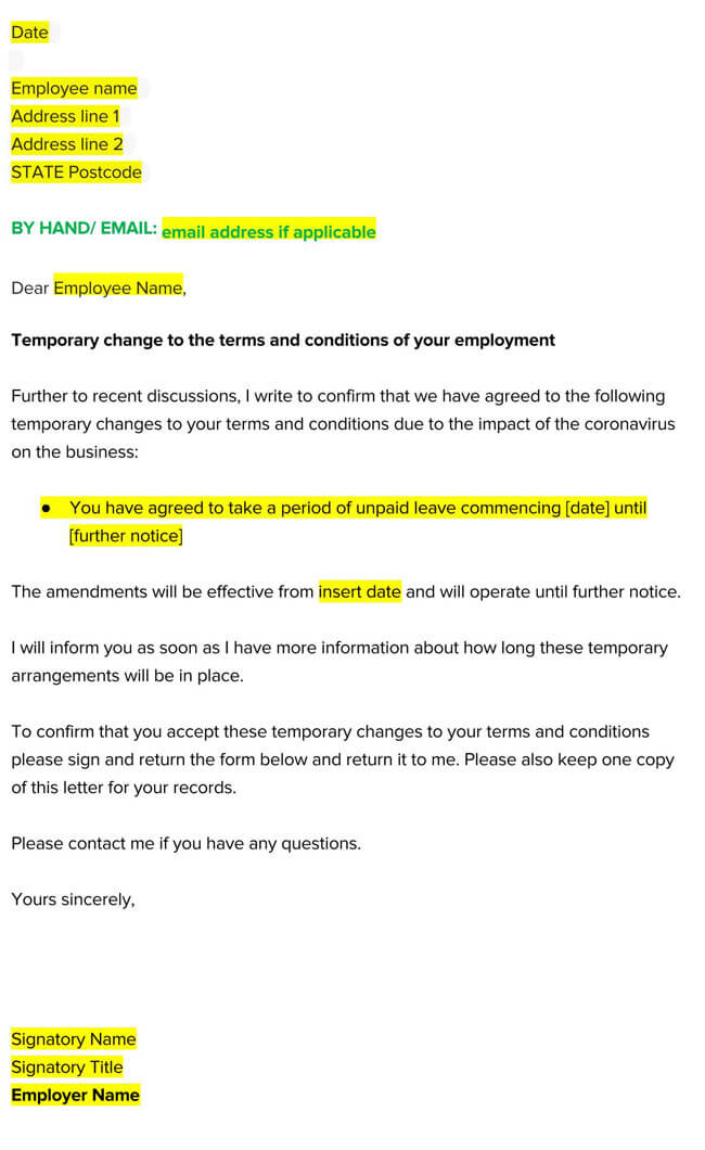 Leave of Absence Agreement Template 01
