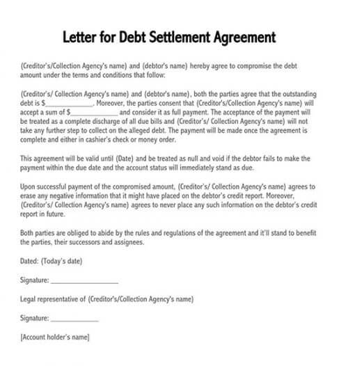 letter of agreement for payment of debt pdf
