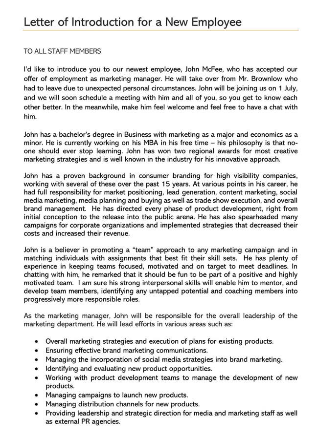 New Employee Introduction Letter