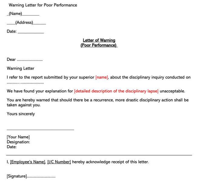 Poor Performance Warning Letter 01