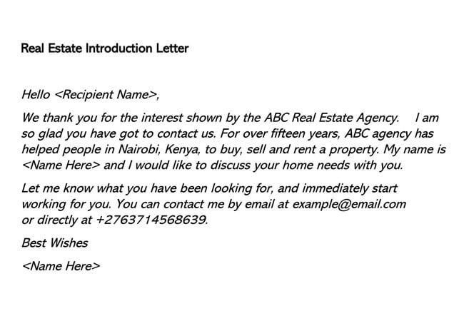 Real Estate Introduction Letter 03