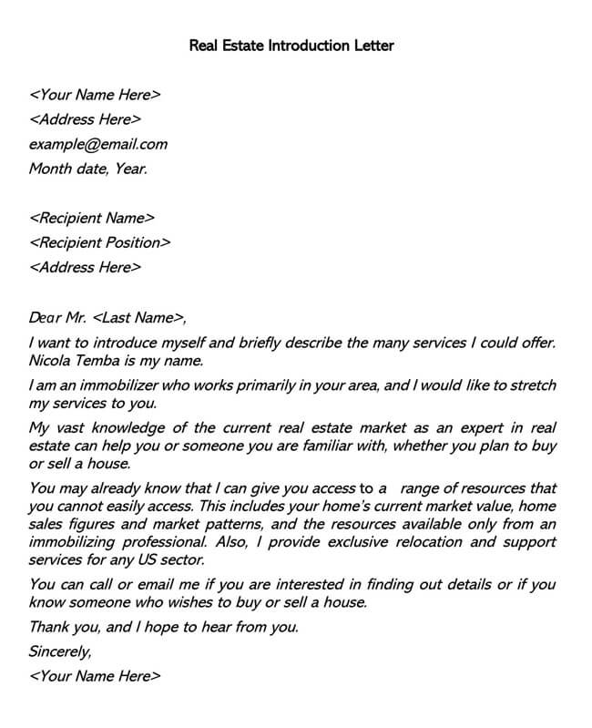 Real Estate Introduction Letter 04