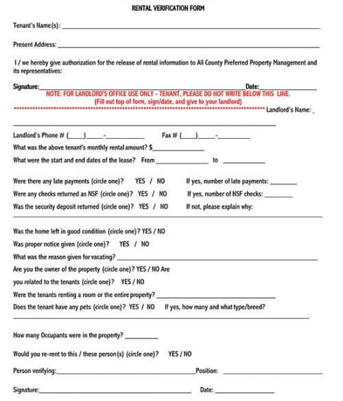 rental verification form for mortgage