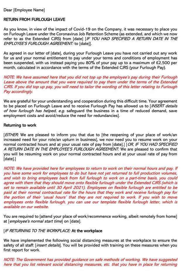 Return From Full Furlough Letter Template
